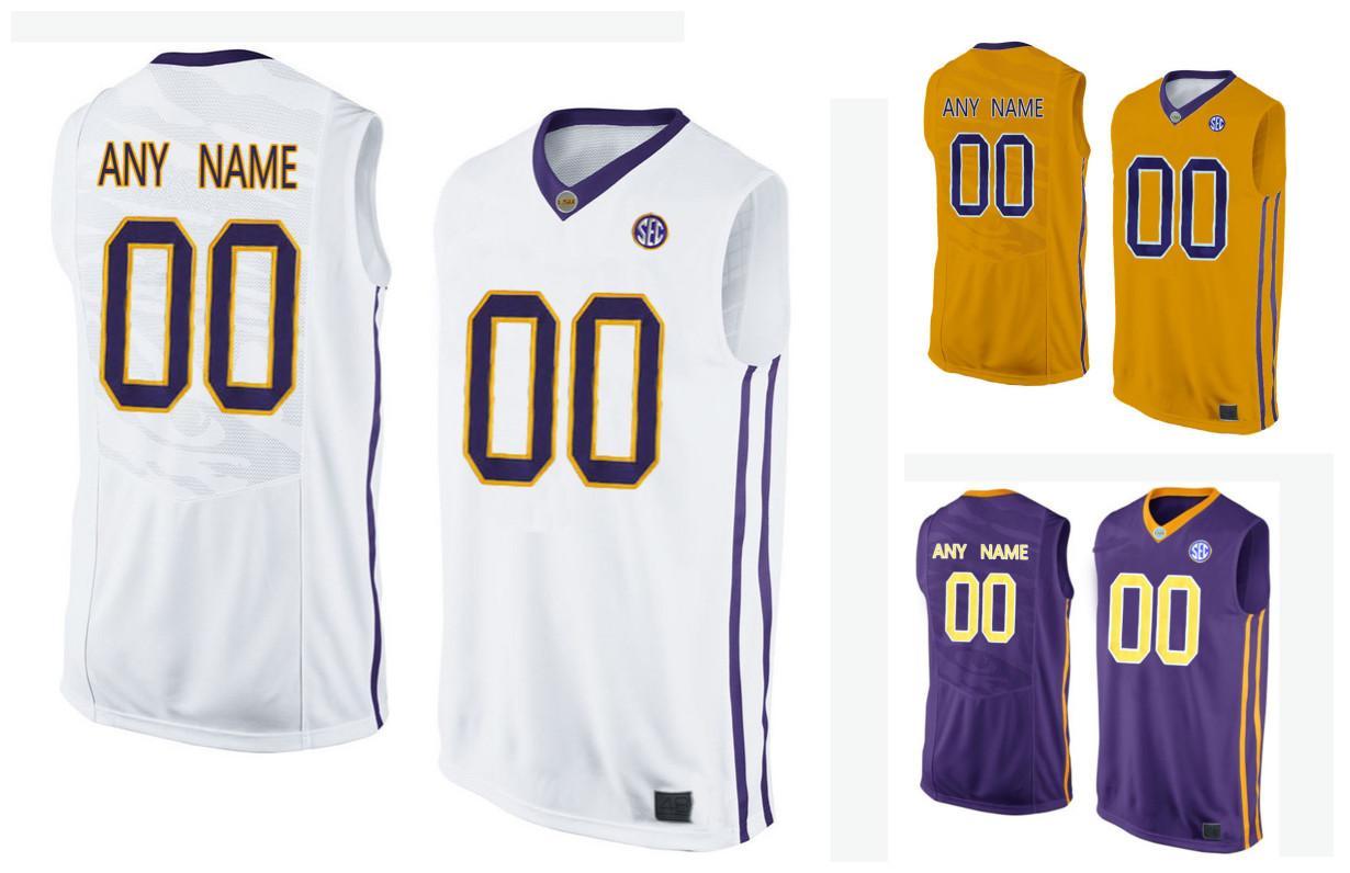 8c18a2b168c ... 2017 cheap wholesale men lsu tigers customized college basketball elite  jersey gold purple white from fanatics