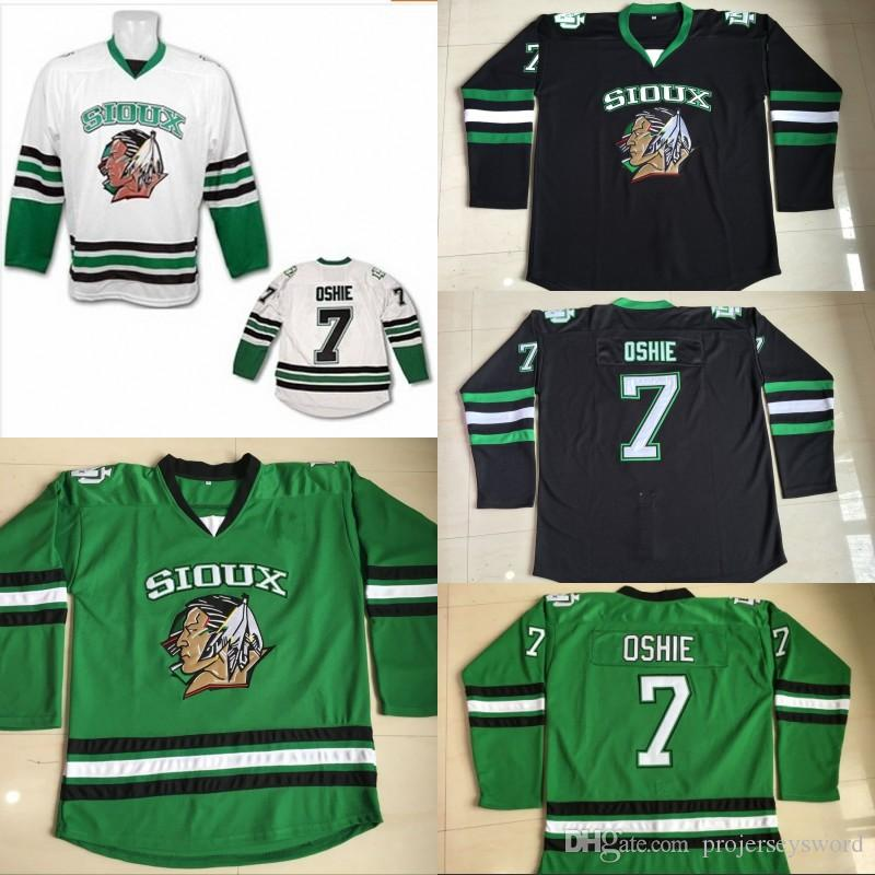 2019  7 TJ Oshie North Dakota Hockey Jersey Men S 100% Stitched Embroidery  Logos Fighting Sioux DAKOTA College Hockey Jerseys Black White Green From  ... ce1fa90b263