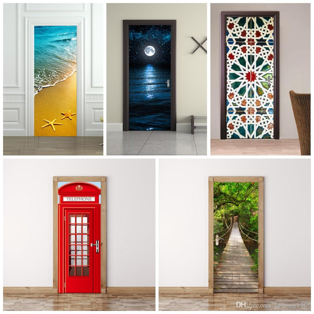 3D Wall Stickers Imitate Mural Painting Living Room Bedroom Wooden Door Sticker Paste Wood Drawbridge Decoration Refurbished Waterproof 45fu