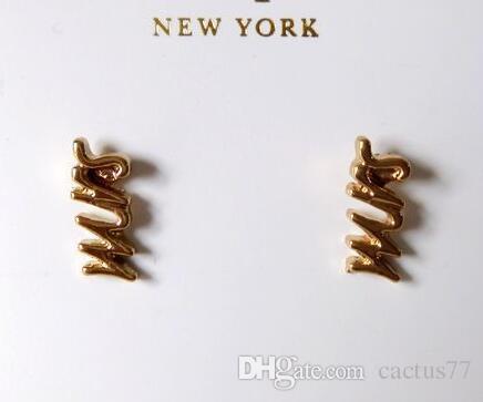 Stile di vendita calda SAY YES Lettere di MRS Studs Orecchini in oro pieno di New York Orecchini di gioielli moda femminile