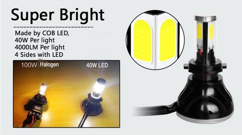 DHL libera il trasporto H4 Hi / Lo faro del LED ad alta potenza 40W 4000LM Car LED luminoso H11 9005 9007 9004 9006 H7 nebbia del faro di luce Convers