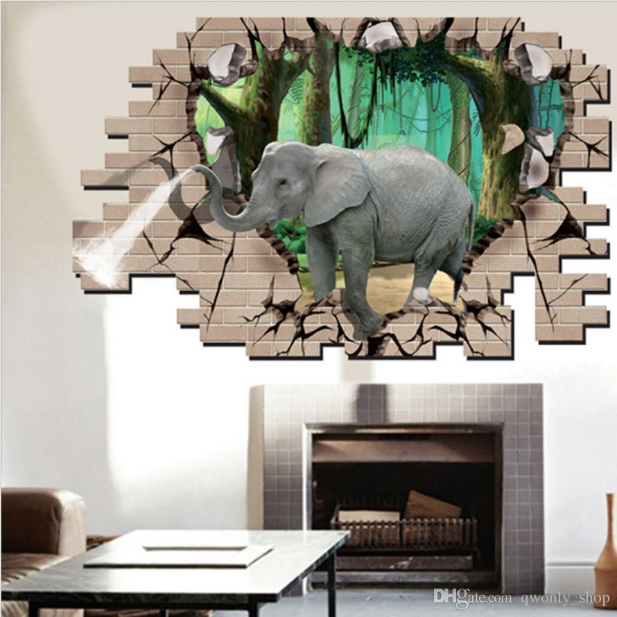 3D Elephant Animal Wall Stickers For Kids Room Bedroom Living Room  Decoration Fake Window Wallpapers DIY Home Decor Mural