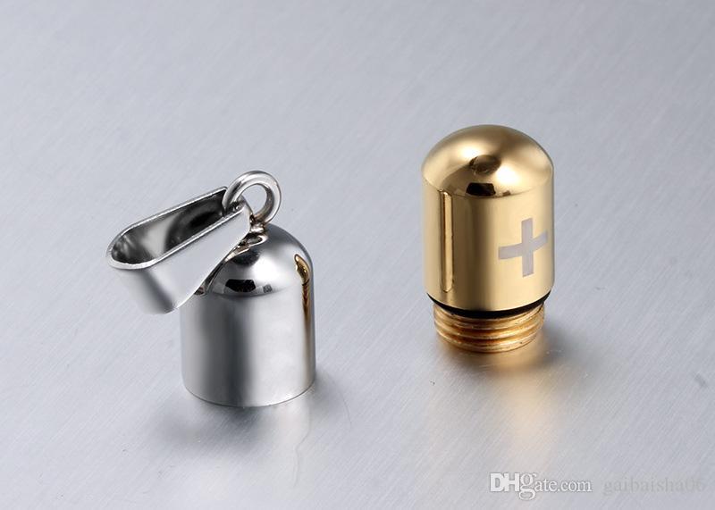 Cool Herren Punk Open Capsule Halskette Parfüm Flasche Pille Kreuz Edelstahl Anhänger Kette Für Frauen Geschenk PN-176