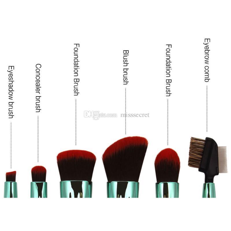 6шт оболочки кисти для макияжа Набор пудра тени для век контур маскирующее румяна смешивания косметической красоты макияж инструменты