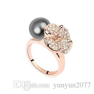 Lovers' Gifts High End Fine Jewelry Accessories Import Austrian Crystal Clover Flowers Pearls Cocktail Fingers Wedding Bands Rings For Women