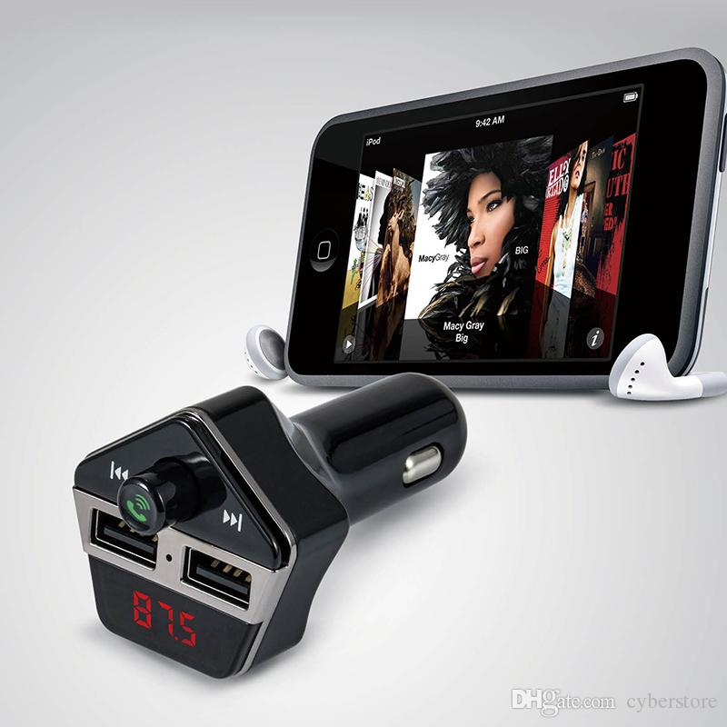 ST-06 سيارة بلوتوث HANDFREE MP3 أغنية لاعب اف ام الارسال FM المغير العرض LCD شاحن سيارة لفون سامسونج XiaomiMore