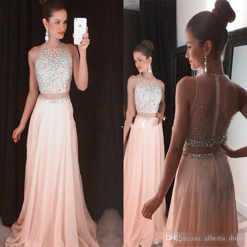 Blush Pink Crop Top Dresses Prom Gown Two Piece Silver Crystal Sheer Back Chiffon Sexy Long Dress For Graduation Party Gowns