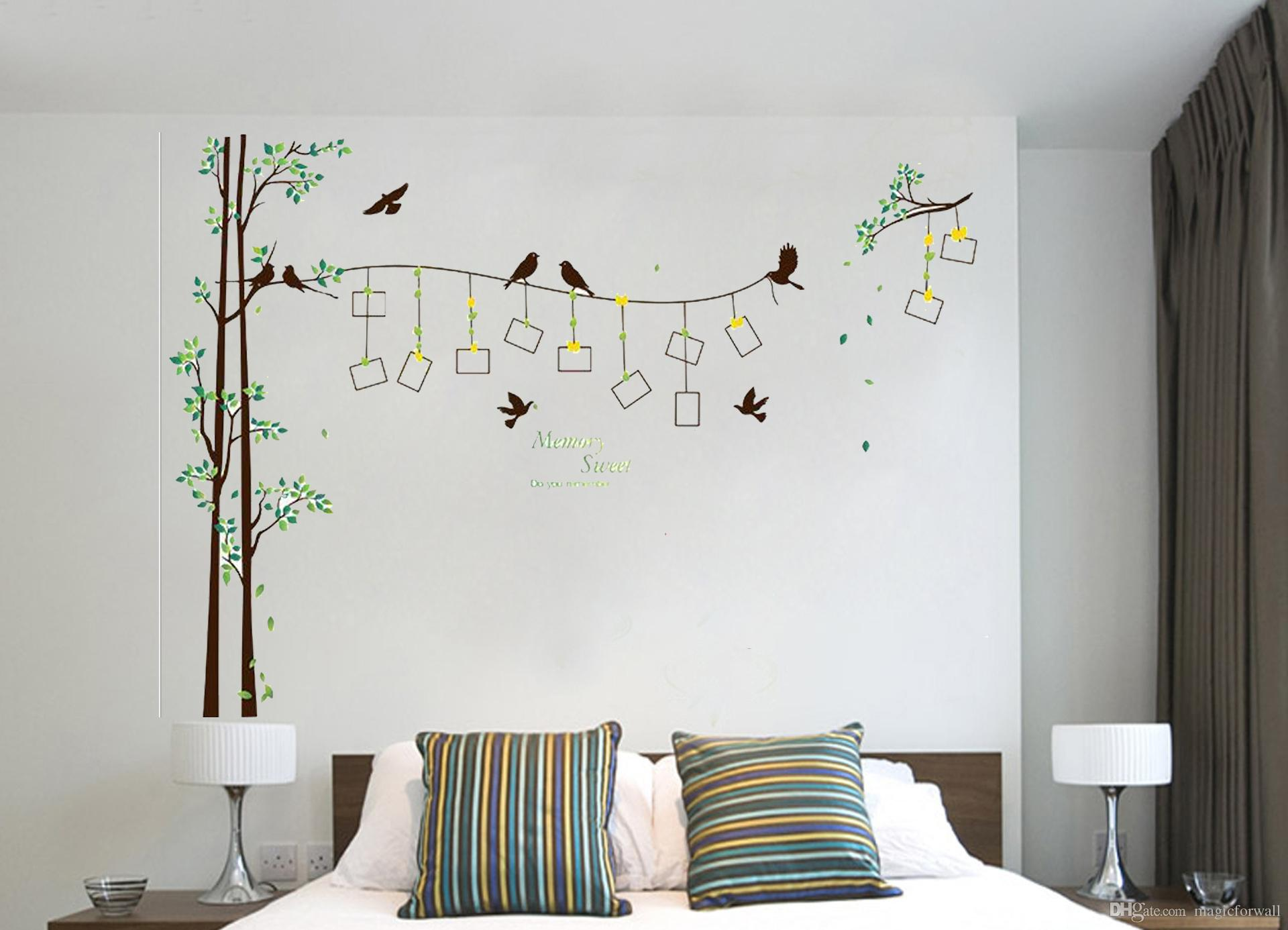 Birds on the Tree Picture Frame Wall Decal Home Decor Wallpaper Poster Headboard TV Background Wall Sticker Memory Sweet Quote