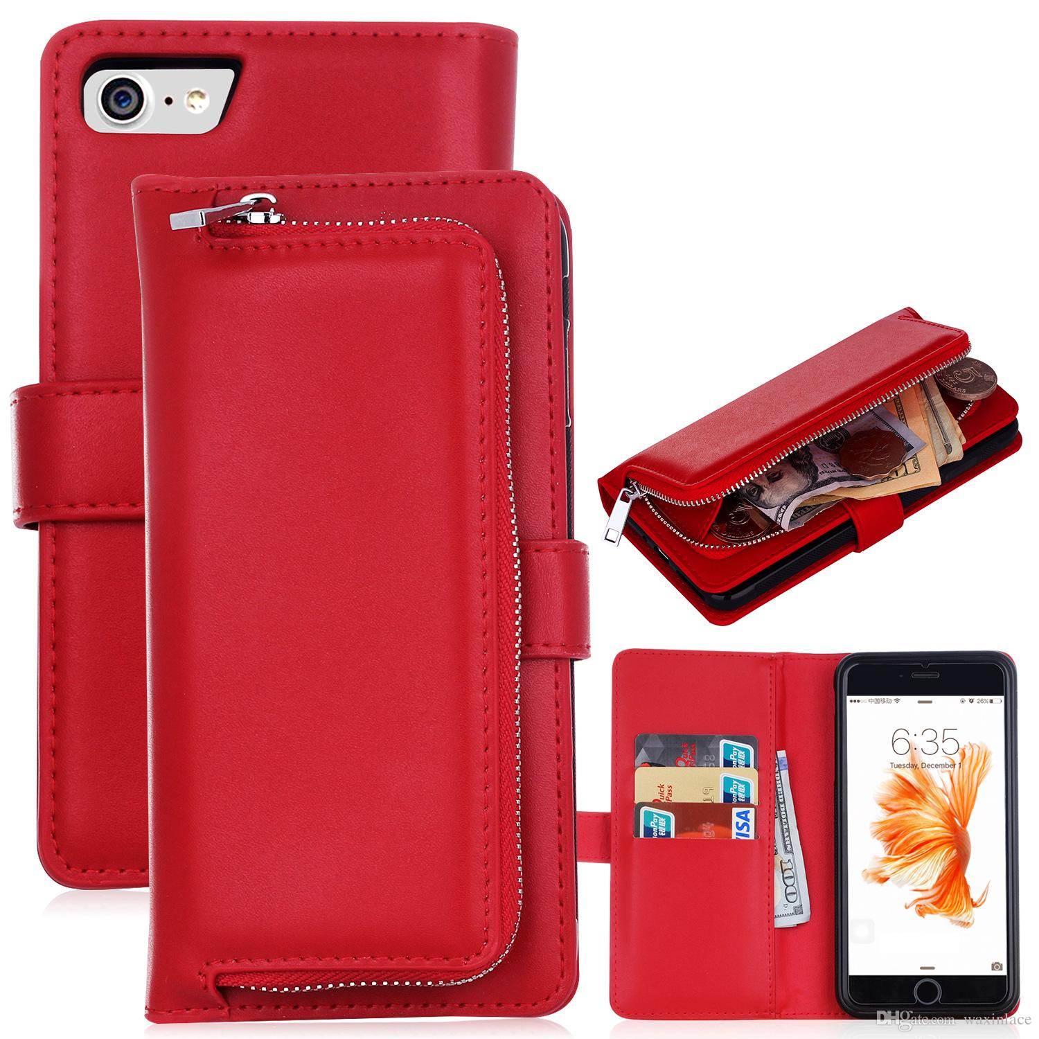 the latest 7988d ce426 Luxury Zipper Leather Wallet Phone Case For Apple iPhone 7 Flip Cover Purse  Detachable Magnetic Closure Money Handbag