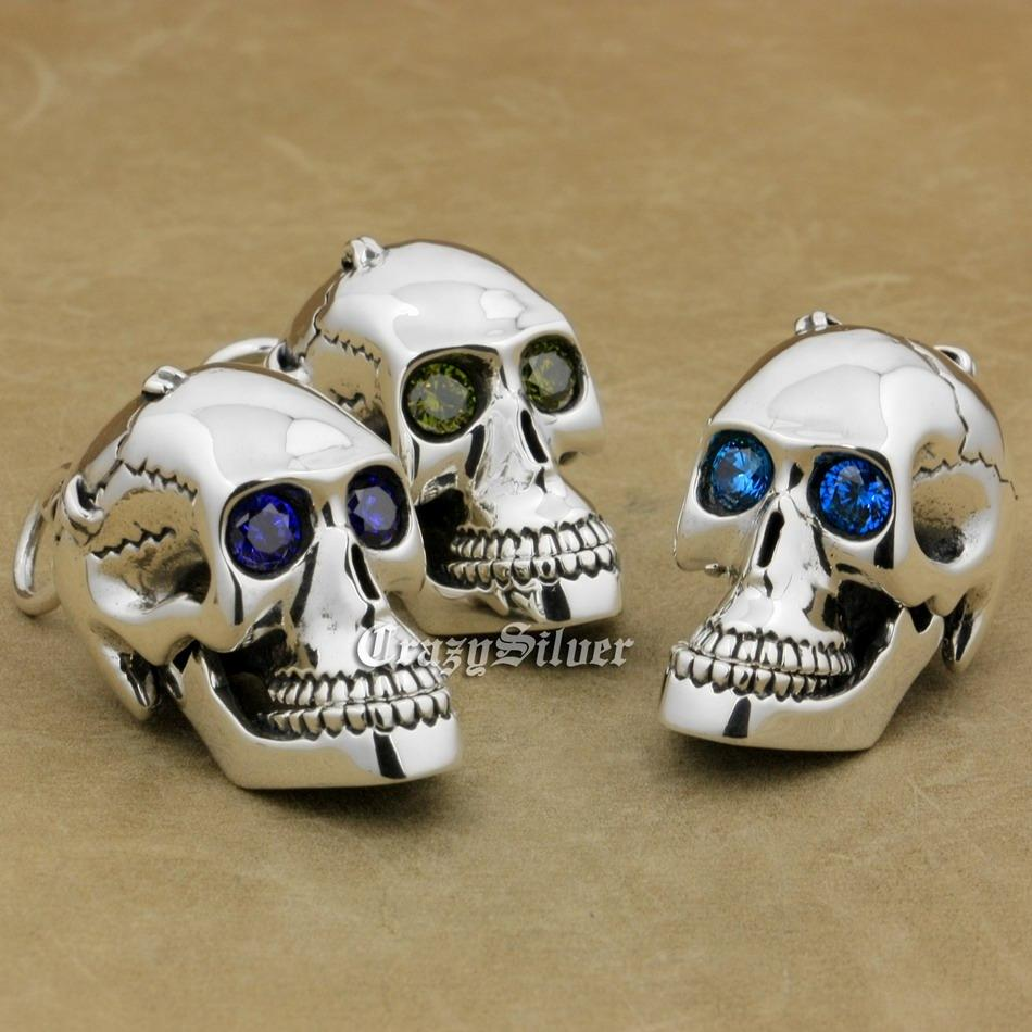 LINSION 925 Sterling Silver CZ Yeux Crâne Bouche Jaw Ouvertable Mens Biker Rock Punk Pendentif 8C113 Juste Pendentif