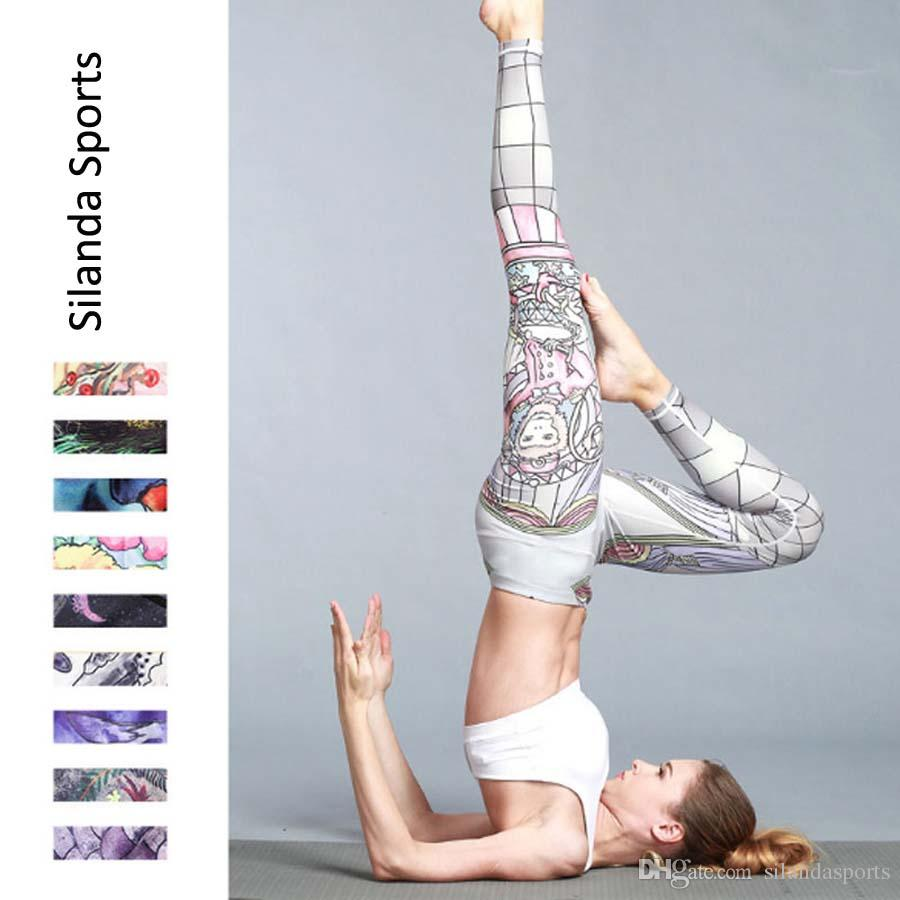 7a90a08ff73a4d 2019 Silanda Sports Women Floral Printed Yoga Leggings Elastic Yoga Pants  Quick Dry Striped Workout Yoga Fitness Wear Running Tights Gym Outfits From  ...