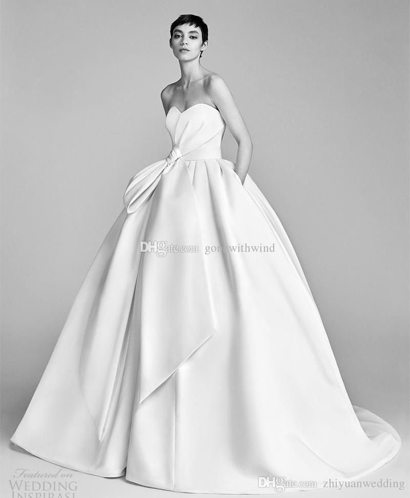 Bow Waist Pocket Train Romantic Modern Wedding Dresses 2018 Bridal  Strapless Sweetheart Ball Gown Off The Rack Wedding Dresses Sweetheart Wedding  Dress From ...