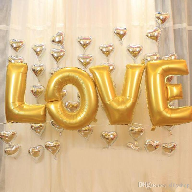 16 /40 inch gold silver LOVE aluminum foil balloons large helium balloon party letters wedding decoration air balls party supplies