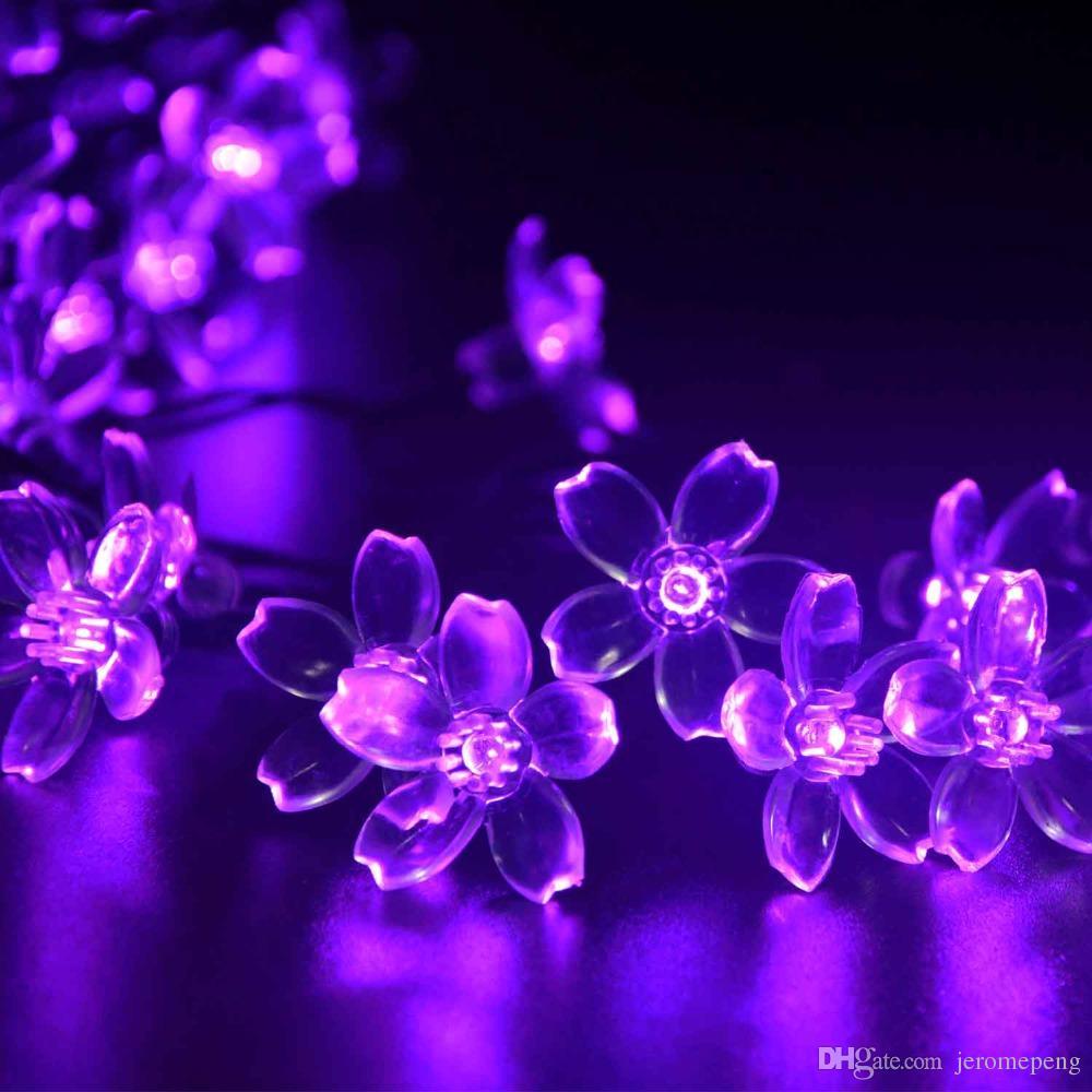 New solar fairy lights 50 LEDS 7M Peach Flower led solar string light Solar Garlands Garden Christmas Decor For Outdoor