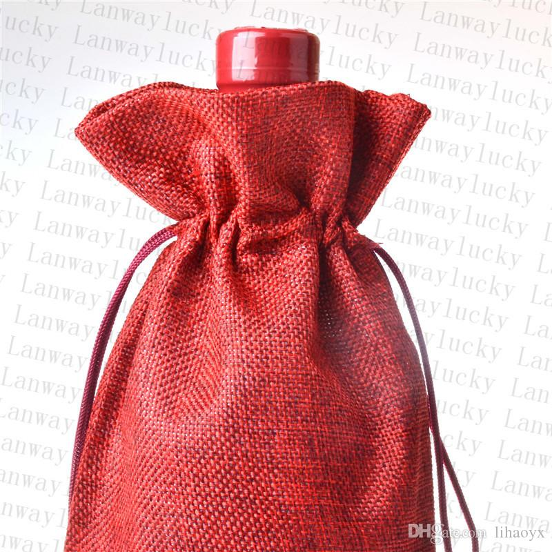 Jute Wine Bottle Covers Champagne Wine Blind Packaging Gift Bags Rustic Hessian Christmas Wedding Dinner Table Decorate 16x36cm TO90