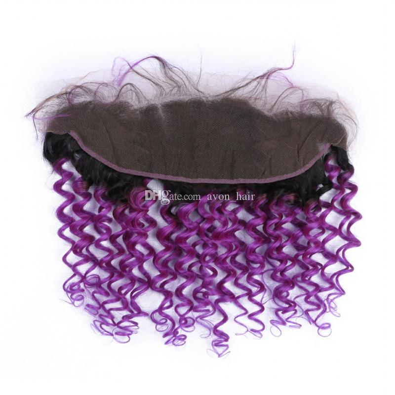 Dark Roots Deep Wave 1B Purple Human Hair Bundles With Lace Frontal 13x4 Frontal With Virgin Purple Hair Weft Extension