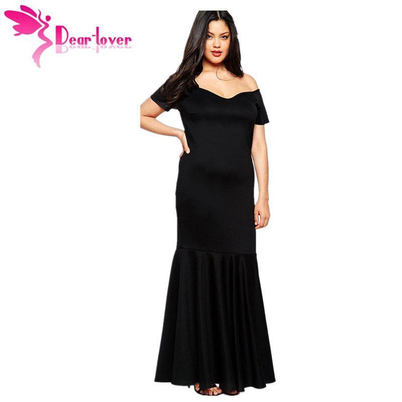 Plus Size Maxi Dresses 3XL Large Big Size Womens Black Off Shoulder ...