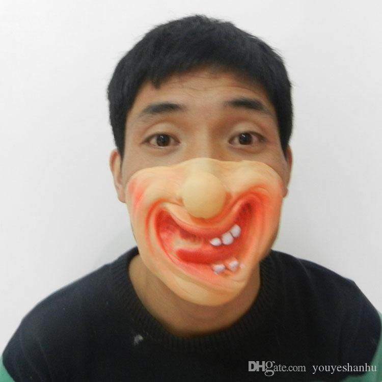 Funny Clown Mask Latex Halloween Lower Half Face Party Mask Prom Dress Half Face Man Mask Cosplay Fancy Prop mix designs