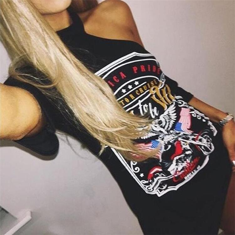 2017 Casual Femmes Vintage Rock Style La moto aigle imprimé pendent l'épaule T-shirt col ONY002 robe