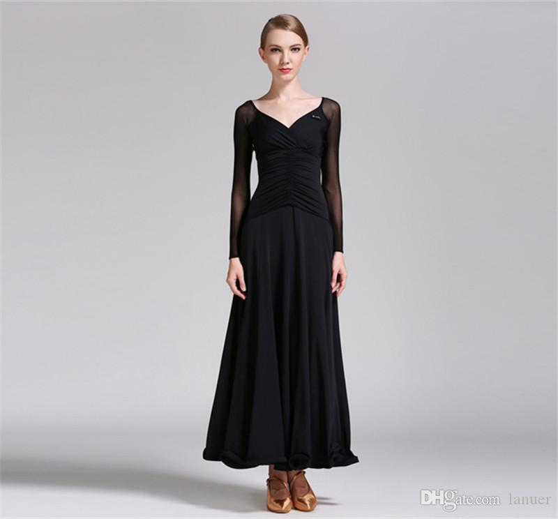 Robe sexy perspective danse moderne valse Tango Foxtrot quickstep costume de compétition vêtements standard jupe de danse de salon YL004