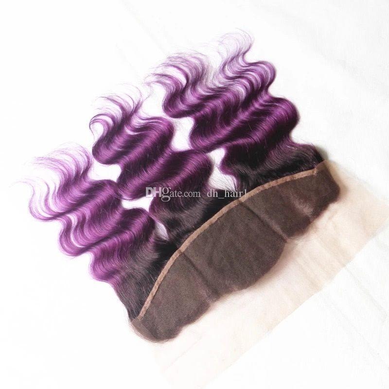 Virgin Malaysian Ombre Körperwelle Haarspinnereien Mit Spitze Frontal Ohr-zu-Ohr-Schließung Mit Bündeln Two Tone 1B Lila Ombre Haar 4 Stücke