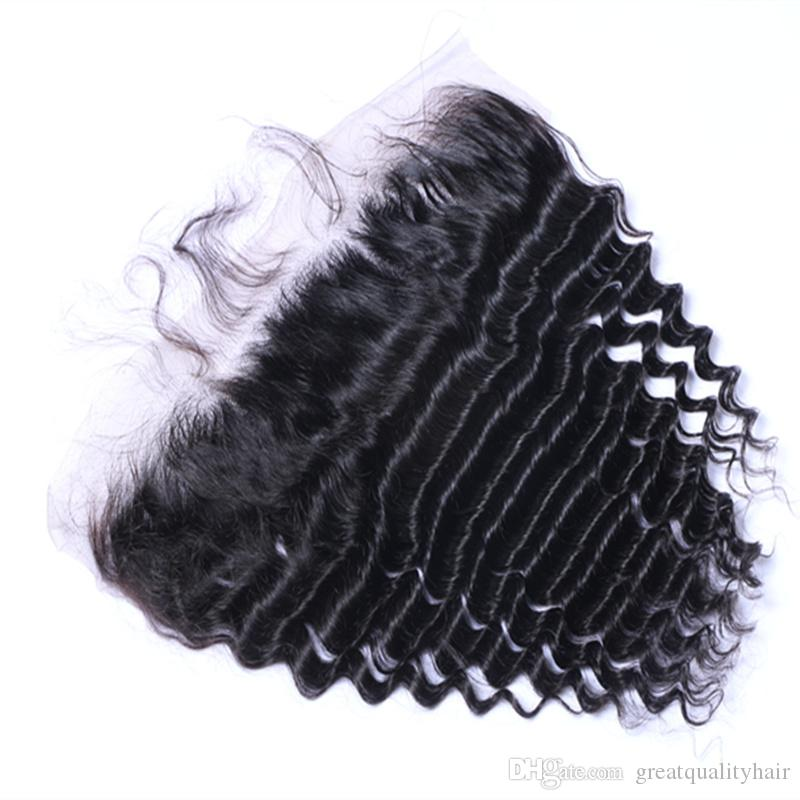 Best Quality Brazilian Malaysian Peruvian Indian 13*4 Deep Wave Lace Frontal Human Virgin Remy Unprocessed Hair Extensions Can Be Dyed Ombre
