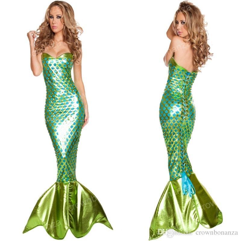 b304cf4a09fd Acquista Principessa Ariel Halloween Party Indossare Abiti Vestiti Bar  Fantasia Sexy Uniformi Mermaid Costume Cosplay Partito Carnevale Verde  Abbigliamento ...