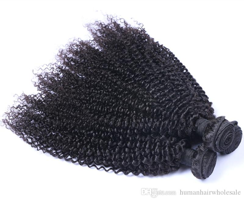 8A Brazilian Curly Virgin Hair Wefts 3/4 Bundles Natural Black Peruvian Indian Malaysian Cambodian Kinky Curly Hair Weaves
