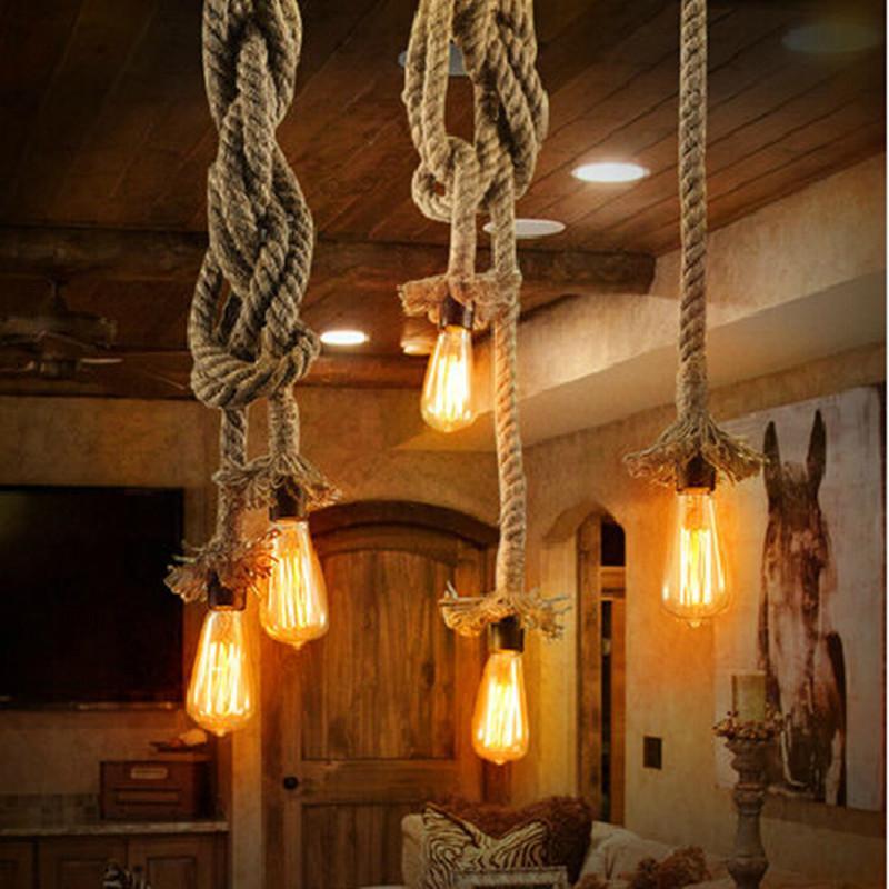 Discount Retro Rope Pendant Light Loft Vintage Lamp Restaurant Bedroom  Dining Room Diy Decorative Pendant Hand Knitted Hemp Rope Light Hanging  Lights In ...
