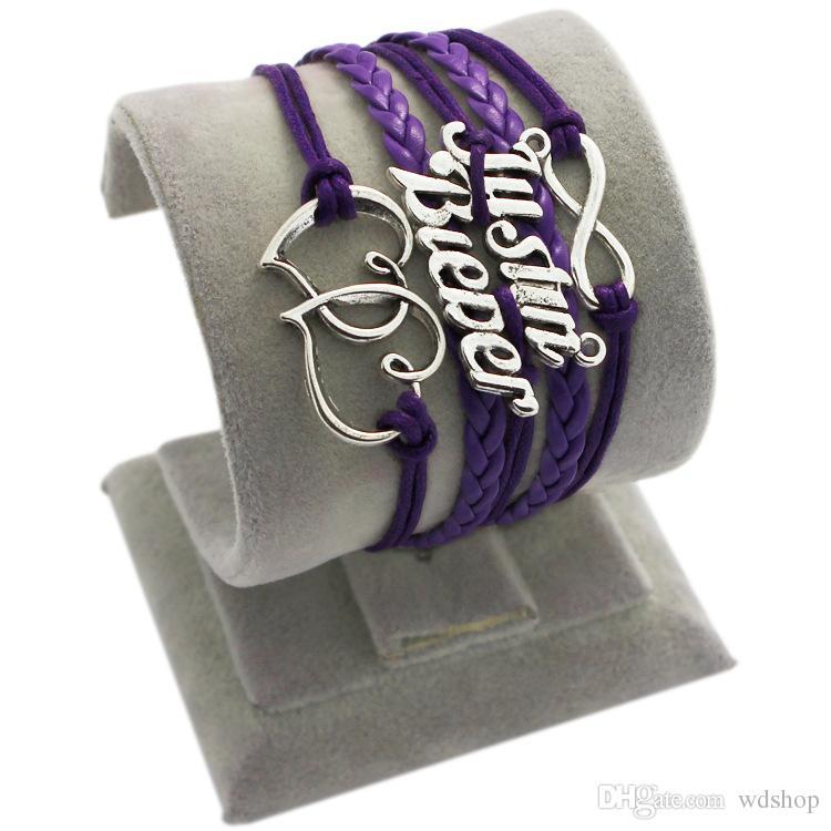 Infinity Woven Bracelet Fashion Multicolor Multi-Layer Double Heart Leather Charm Bracelets Handmade Weaves Justin Bieber Bracelet