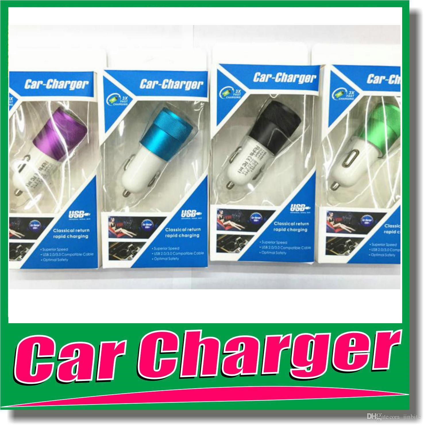 Best Metal Dual Usb Port Car Charger Universal 12 Volt 1 2 Amp Large Ampamp For Iphone 5 6s Ipad Samsung Galaxy Htc With Retail Box Om G7 Power Bank Charging
