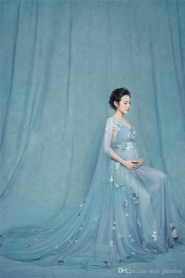 One Size Maternity Photography Props Pregnant Dress Women Royal ...