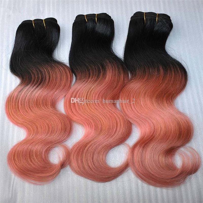 3 번들 옹 브르 1B 로즈 골드 브라질 바디 웨이브 머리 직조 레미 인간의 분홍색 머리 확장 어두운 루트 최고 레이스 폐쇄