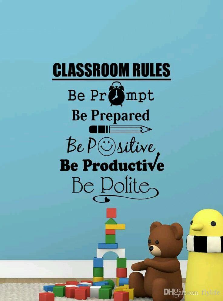 Classroom Rules Quote Wall Decals Creative Decorative Removable - Custom vinyl wall decals for classrooms