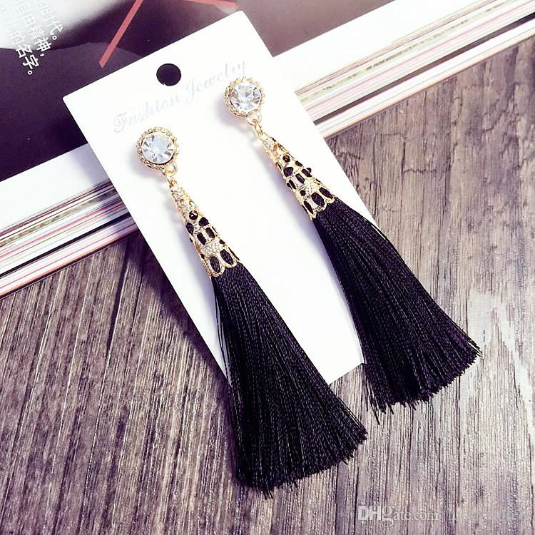 Nici Długie Kolczyki Tassel Rhinestone Drop Instrukcja Fringe Kolczyki Dla Kobiet Luksusowe Łzy Kropla Kolczyki Europejska Rhinestone Tassel Dangle