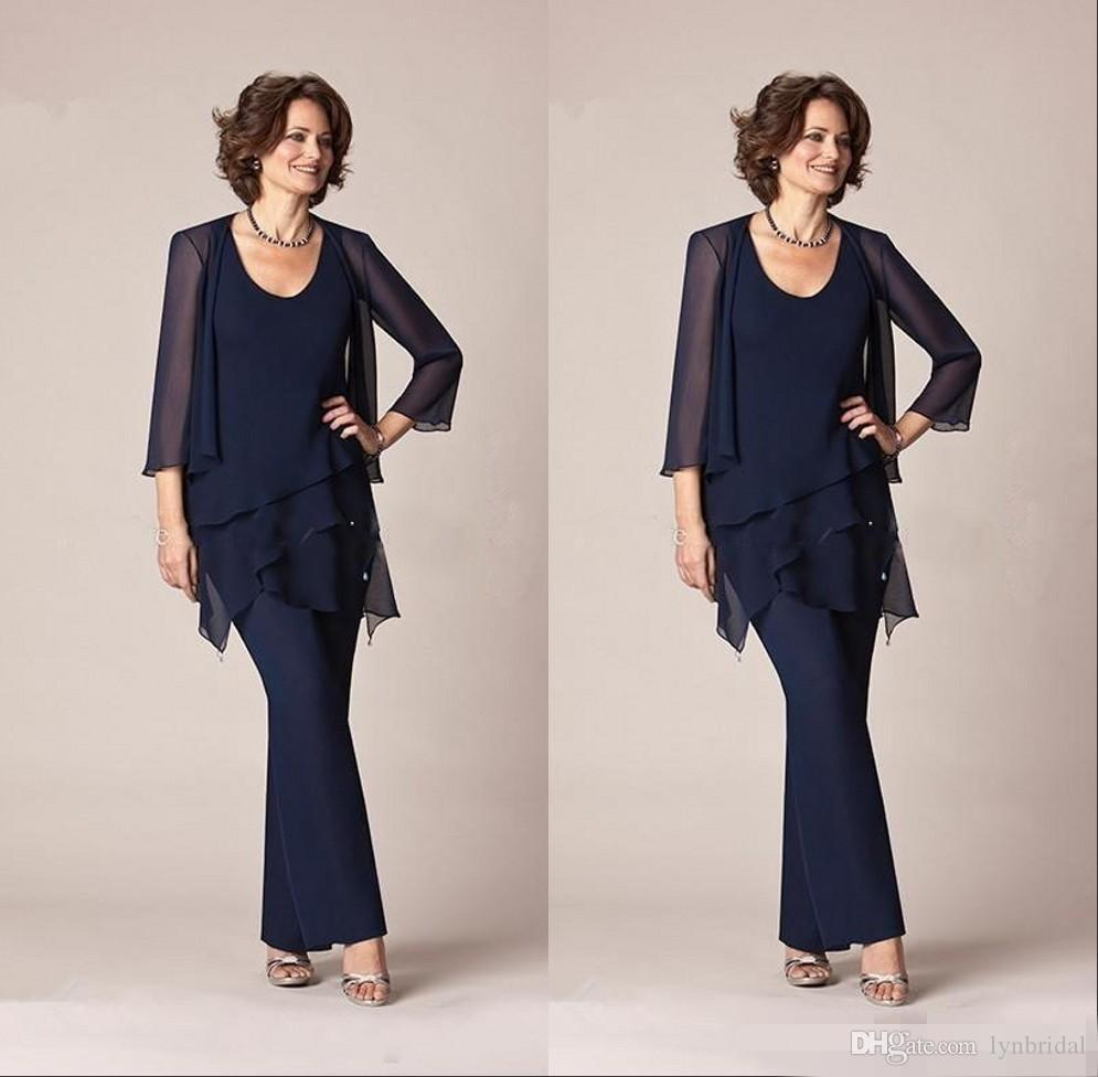 2018 Chiffon Mother Of The Bride Pant Suits With Jacket