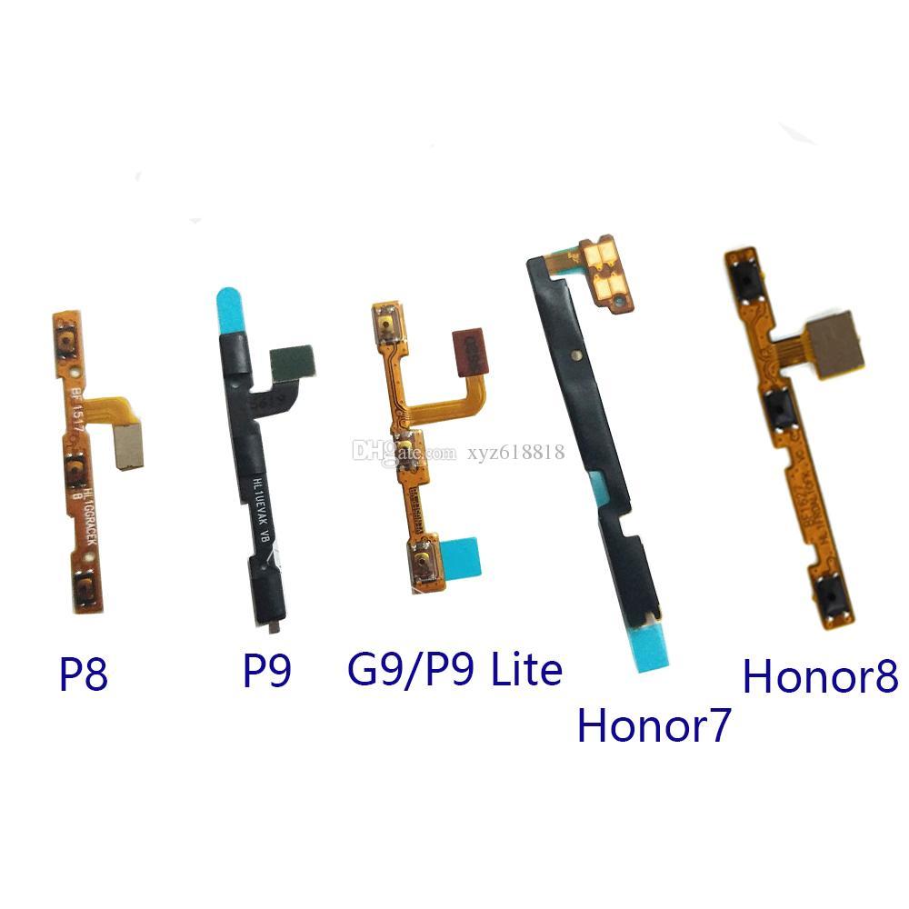 Nouveau Power On Off Volume Haut Bas Bouton Clé Flex Câble pour Huawei P8 P8 Lite P9 Lite / G9 Honor 7 / Honor 8 Pièces de rechange de réparation