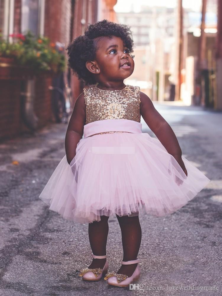 Cute Ball Gowns Knee Length Cheap Toddler Baby Flower Girs' Dress Sequined Gold Top Pink Kids Birthday Wear 2017