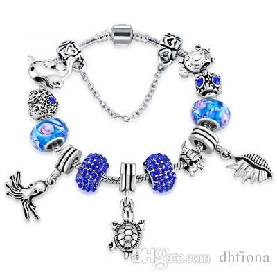9c56fd18b ... ireland royal blue girls charm bracelet fit pandora bracelets silver  plated 39cm snake chain cute sealife