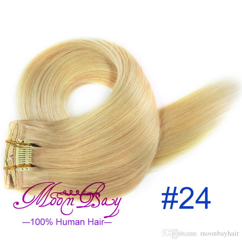 Highlight Color Remy Human Hair 15 18 20 22 Clip Hair Extension