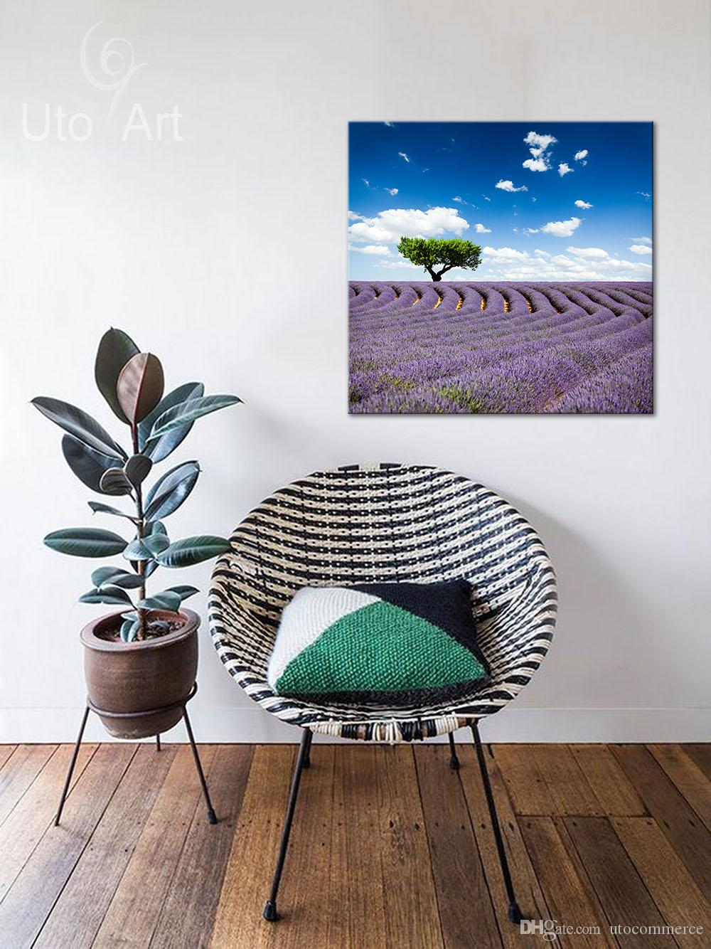 Morden Picture Purple Flowers Art Wall Painting Landscape Canvas Painting Spray Print for Home Decoration Canvas Print Square