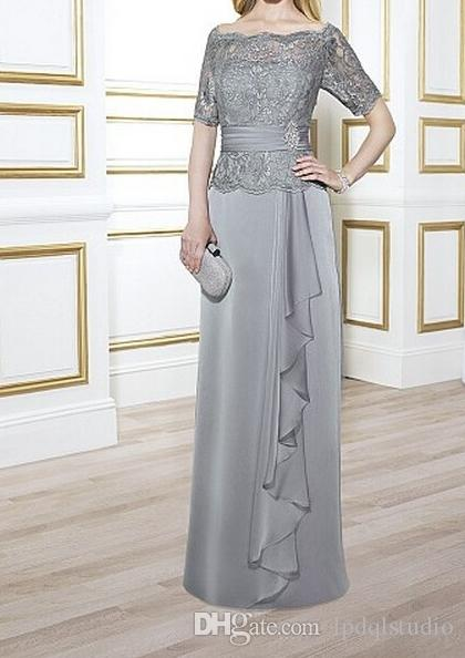 8e6d3b87404 Elegant Mother Of The Bride Dresses Light Gray Satin Chiffon With Lace Top  Zipper Back Mother S Dresses Off Shoulder Custom Made Plus Size Mothers  Bride ...