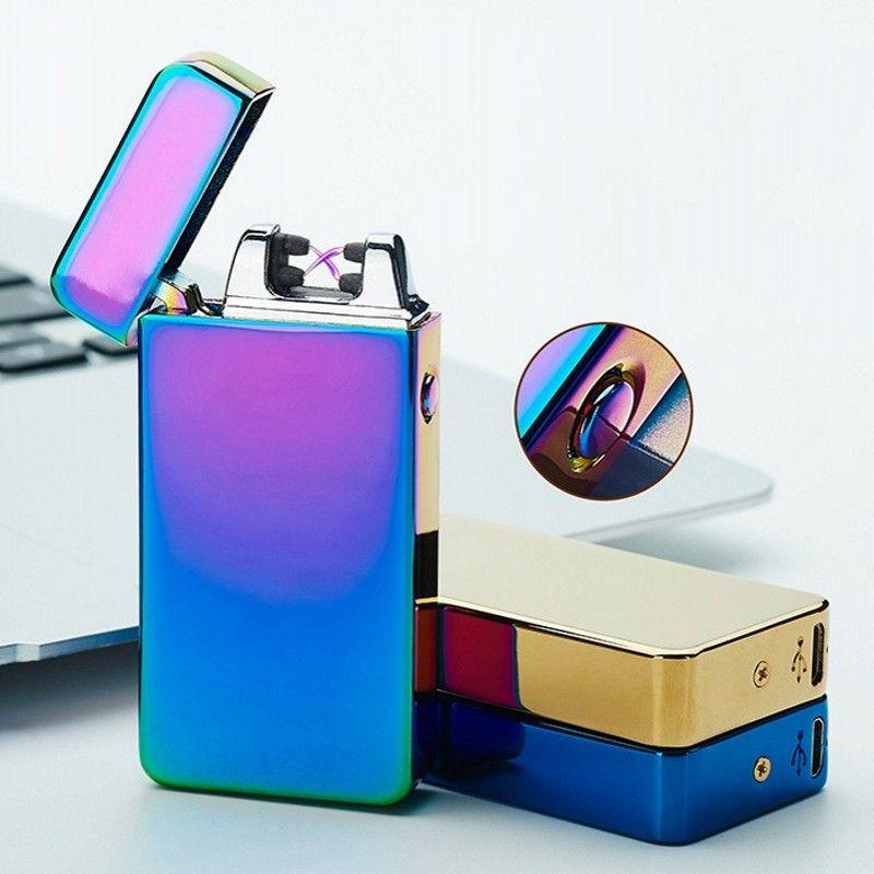 USB Elétrico Dual Arc Metal Sem Chama Recarregável À Prova de Vento Mais Leve Dupla Lighers Cruz Fumadores isqueiro