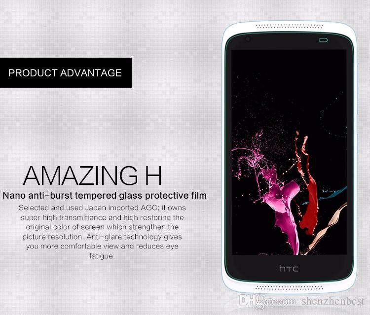 Verre trempé 0,26mm pour HTC M7 / M8 / M9 / M9 plus / M10 / E8 / un E9 / un max / 320/526/601 9H Protecteur d'écran LCD