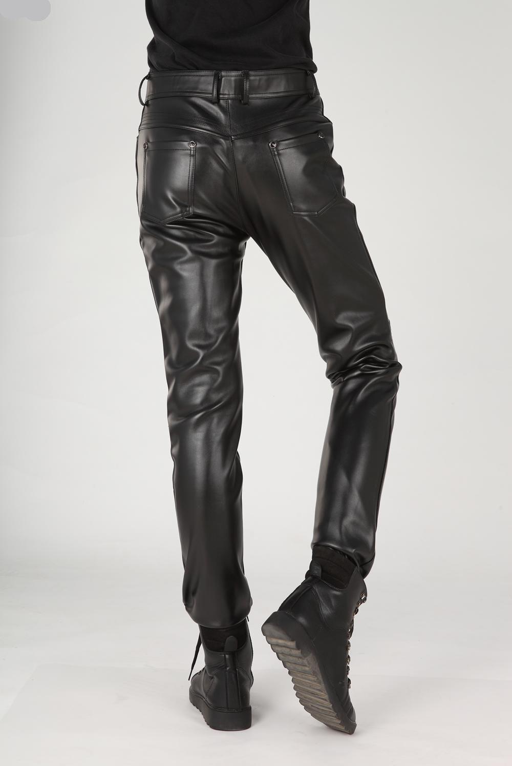 Estilo coreano novo masculino calças de couro PU maré calças slim outono inverno moda casual calças de couro de alta qualidade calças de couro preto dos homens