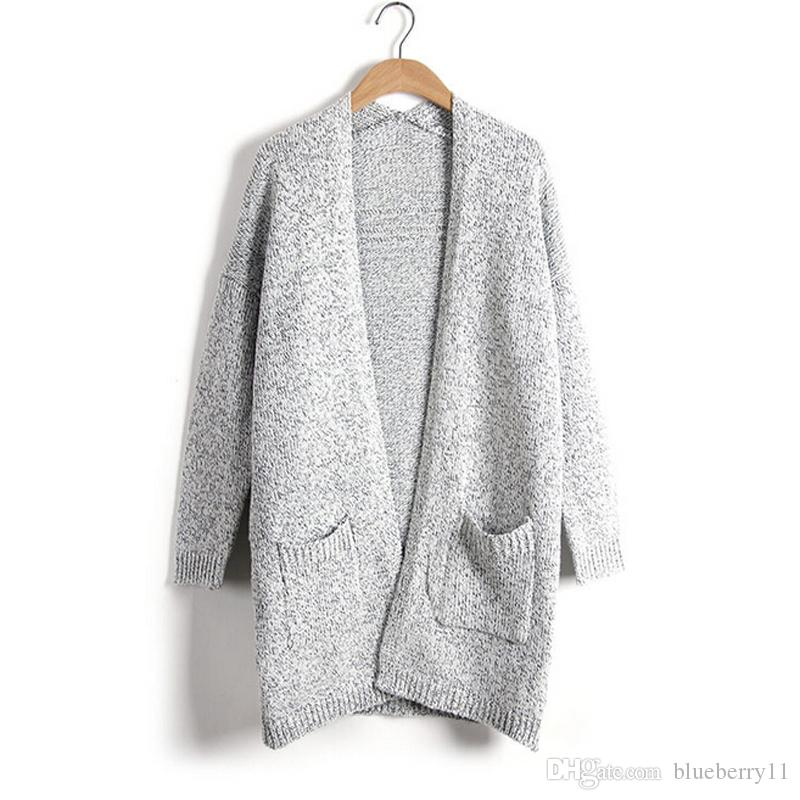 Cardigan invernale donna Casual Fashion Solid Women Warm Cardigan a maglia o Collo manica lunga Maglie lunghe Outwear