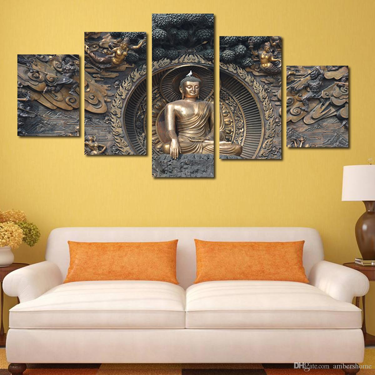 2018 Black And Golden Figure Of Buddha Hand Painted Painting Canvas ...