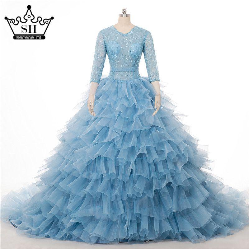 Russia Long Tail Luxury Big Wedding Dress Vernassa Ruffles Wedding