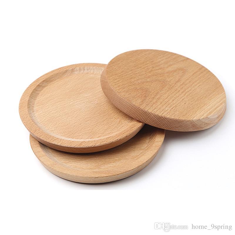 Dia 14cm Mini Cake Snack Vassoio di frutta Piatto rotondo in legno Vassoi posate Sottobicchiere mug Articoli la tavola in legno