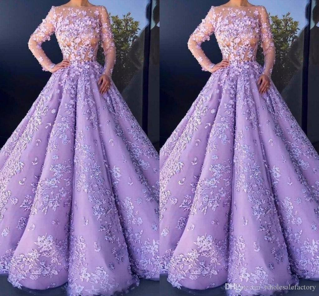 2017 Purple Ball Gown Wedding Dresses With Long Sleeves Scoop ...
